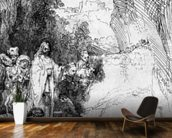 The Small Raising of Lazarus, 1644 (etching) (b/w photo) mural wallpaper kitchen preview