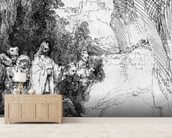 The Small Raising of Lazarus, 1644 (etching) (b/w photo) mural wallpaper living room preview