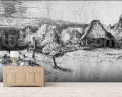Large Landscape with a Tower, c.1650 (etching) (b/w photo) wall mural living room preview