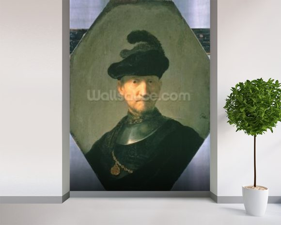 Old Warrior, 1629 (oil on canvas) wallpaper mural room setting