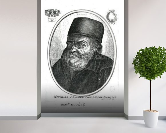 Nicolas Flamel (c.1330-1418) engraved by Balthazar Moncornet (c.1600-68) (engraving) (b/w photo) mural wallpaper room setting