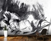 Sick woman in a bed, maybe Saskia, wife of the painter, c.1640 (pen & bistre on paper) (b/w photo) wall mural kitchen preview