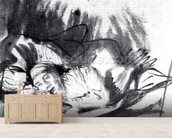 Sick woman in a bed, maybe Saskia, wife of the painter, c.1640 (pen & bistre on paper) (b/w photo) wall mural living room preview