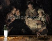 The Adoration of the Shepherds, detail, 1646 (oil on canvas) (detail of 142128) wallpaper mural kitchen preview