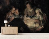 The Adoration of the Shepherds, detail, 1646 (oil on canvas) (detail of 142128) wallpaper mural living room preview
