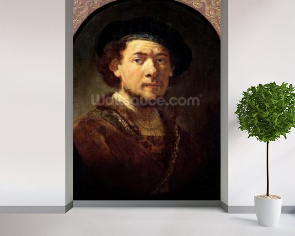 Portrait of a Man with a Gold Chain or, Self Portrait with Beard, 1634-36 (oil on panel) mural wallpaper room setting