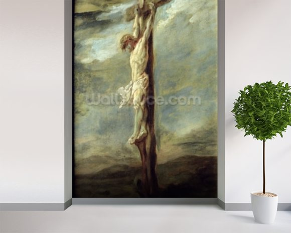 Christ on the Cross (oil on canvas) wallpaper mural room setting