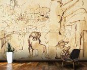 St. Jerome reading in a landscape (pen and wash on paper) mural wallpaper kitchen preview