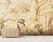 St. Jerome reading in a landscape (pen and wash on paper) mural wallpaper living room preview