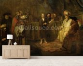 The Twelve Year Old Jesus in front of the Scribes, c.1655 (oil on canvas) wall mural living room preview