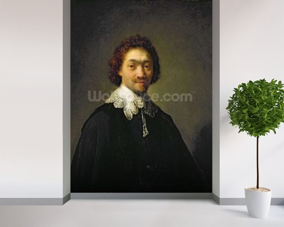 Portrait of Maurits Huygens, 1632 (oil on panel) wallpaper mural room setting