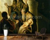 Simeon and Hannah in the Temple, c.1627 (oil on panel) mural wallpaper kitchen preview