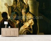 Simeon and Hannah in the Temple, c.1627 (oil on panel) mural wallpaper living room preview