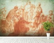 The Doubting Thomas (red chalk on paper) wall mural in-room view