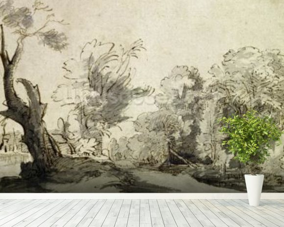 Landscape with a path, an almost dead tree on the left and a footbridge leading to a farm on the right (pen, ink and wash on paper) wallpaper mural room setting