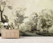 Landscape with a path, an almost dead tree on the left and a footbridge leading to a farm on the right (pen, ink and wash on paper) wallpaper mural living room preview