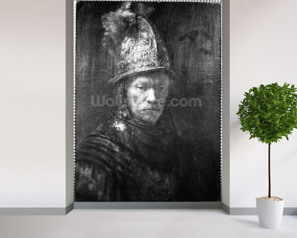 Portrait of a Man with a Golden Helmet, 1648 (oil on canvas) (b/w photo) wallpaper mural room setting
