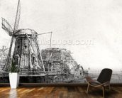 The Mill, 1641 (engraving) (b/w photo) wall mural kitchen preview