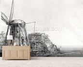 The Mill, 1641 (engraving) (b/w photo) wall mural living room preview