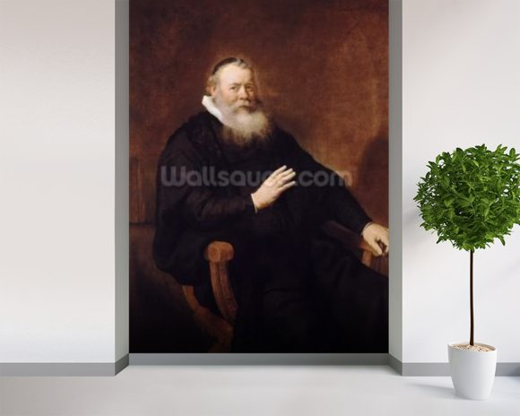 Portrait of Pastor Eleazer Swalmius, 1637-42 (oil on canvas) mural wallpaper room setting