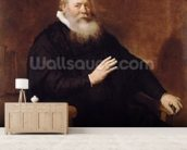 Portrait of Pastor Eleazer Swalmius, 1637-42 (oil on canvas) mural wallpaper living room preview