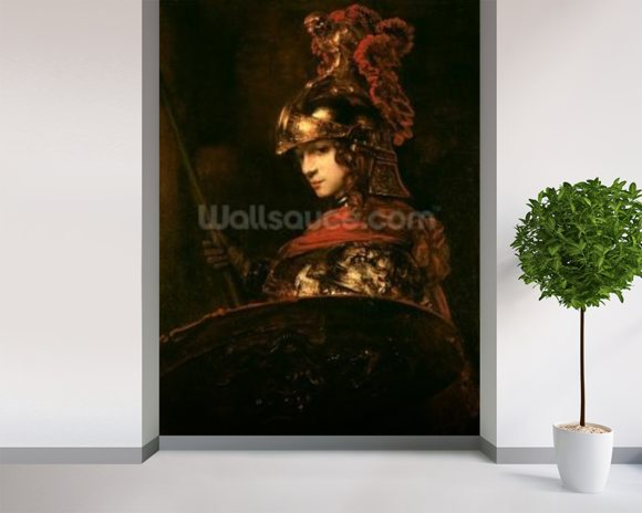 Pallas Athena or, Armoured Figure, 1664-65 (oil on canvas) wall mural room setting