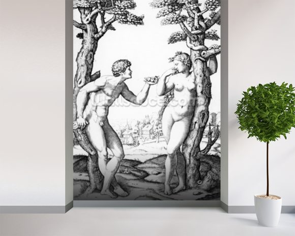 Adam and Eve, engraved by Marcantonio, c.1520 (engraving) wallpaper mural room setting