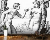 Adam and Eve, engraved by Marcantonio, c.1520 (engraving) wallpaper mural kitchen preview