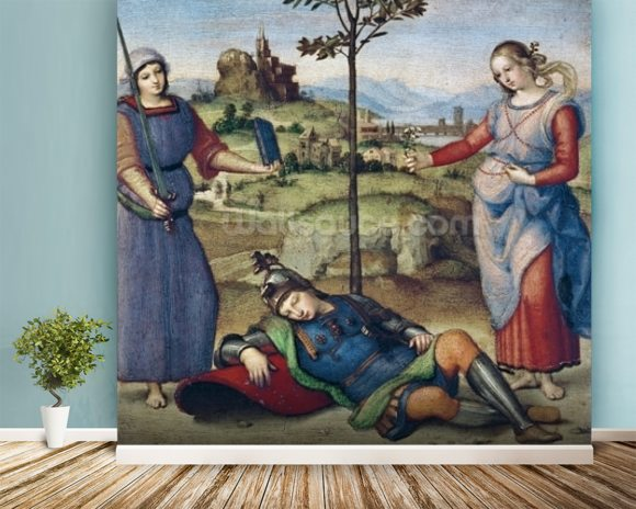Vision of a Knight, c.1504 (oil on poplar) mural wallpaper room setting