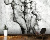 Psyche presenting Venus with water from the Styx, 1517 (red chalk on paper) (b/w photo) wallpaper mural kitchen preview