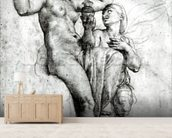 Psyche presenting Venus with water from the Styx, 1517 (red chalk on paper) (b/w photo) wallpaper mural living room preview