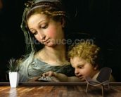 The Virgin of the Rose, c.1518 (oil on canvas) (detail of 3423) wall mural kitchen preview