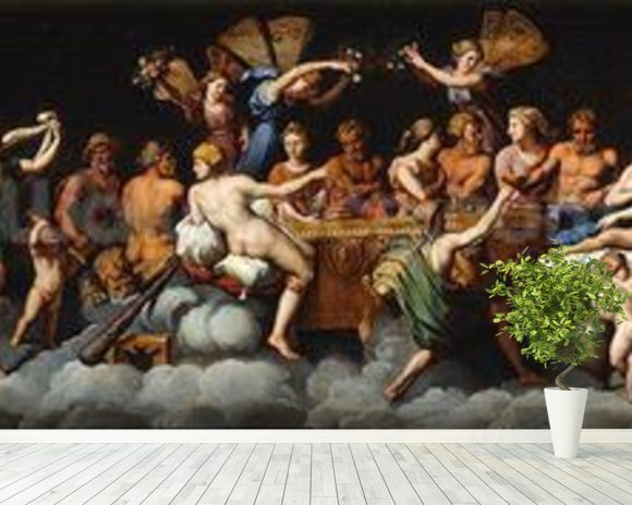 The Banquet of the Gods (oil on canvas) mural wallpaper room setting