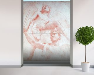Angel and a figure representing the planet Mars (red chalk on paper) wallpaper mural