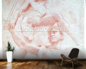 Angel and a figure representing the planet Mars (red chalk on paper) wallpaper mural kitchen preview