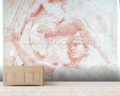 Angel and a figure representing the planet Mars (red chalk on paper) wallpaper mural living room preview