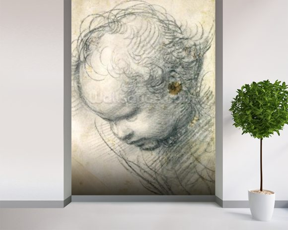 Head of a Cherub (black chalk and charcoal on paper) wallpaper mural room setting
