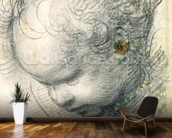 Head of a Cherub (black chalk and charcoal on paper) wallpaper mural kitchen preview