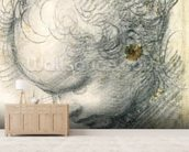 Head of a Cherub (black chalk and charcoal on paper) wallpaper mural living room preview