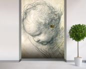 Head of a Cherub (black chalk and charcoal on paper) wallpaper mural in-room view