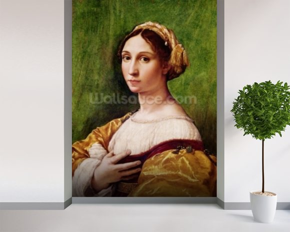 Portrait of a Young Girl (tempera on panel) mural wallpaper room setting