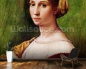 Portrait of a Young Girl (tempera on panel) mural wallpaper kitchen preview
