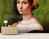 Portrait of a Young Girl (tempera on panel) mural wallpaper living room preview