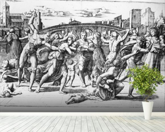 The Massacre of the Innocents, engraved by Marcantonio Raimondi (engraving) (b/w photo) wall mural room setting