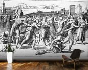 The Massacre of the Innocents, engraved by Marcantonio Raimondi (engraving) (b/w photo) wall mural kitchen preview
