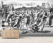 The Massacre of the Innocents, engraved by Marcantonio Raimondi (engraving) (b/w photo) wall mural living room preview