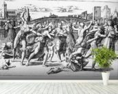 The Massacre of the Innocents, engraved by Marcantonio Raimondi (engraving) (b/w photo) wall mural in-room view