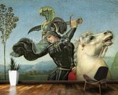St. George Struggling with the Dragon, c.1503-05 (oil on panel) (detail of 15971) wallpaper mural kitchen preview