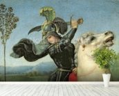 St. George Struggling with the Dragon, c.1503-05 (oil on panel) (detail of 15971) wallpaper mural in-room view