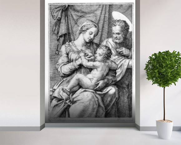 The Holy Family, engraved by Marcantonio Raimondi, c.1515 (engraving) mural wallpaper room setting